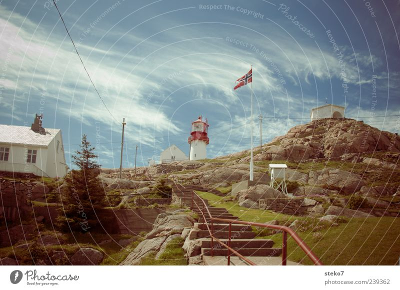 Norway House (Residential Structure) Lighthouse Stairs Flagpole Vacation & Travel Colour photo Exterior shot Deserted Day Rock Travel photography