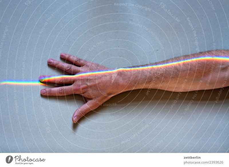 Human being Man Colour Hand Copy Space Arm Fingers Indicate Physics Rainbow Beam of light Refraction Spectral Prism Underarm Prismatic colors