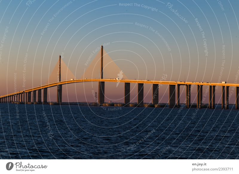 Sunshine Skyway Bridge Vacation & Travel Tourism Far-off places Summer Summer vacation Ocean Environment Cloudless sky Sunrise Sunset Tampa Florida USA Americas