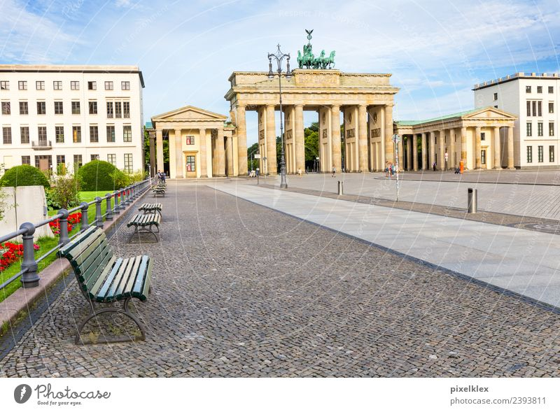 Brandenburg Gate Vacation & Travel Tourism Trip Sightseeing City trip Summer Berlin Downtown Berlin Germany Europe Town Capital city Deserted
