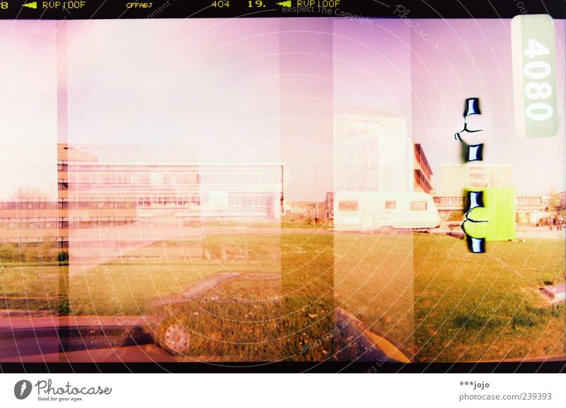 City House (Residential Structure) Landscape Car Pink Concrete Modern High-rise Retro Digits and numbers Lawn Violet Manmade structures Analog Double exposure