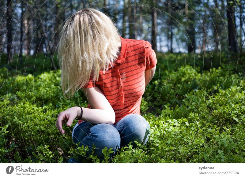 Human being Nature Youth (Young adults) Beautiful Calm Adults Forest Relaxation Environment Life Emotions Freedom Hair and hairstyles Style Fashion Dream