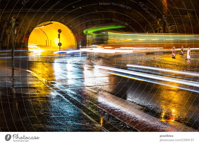Tunnel at night Water Bad weather Storm Rain Thunder and lightning Manmade structures Transport Means of transport Traffic infrastructure Road traffic Street