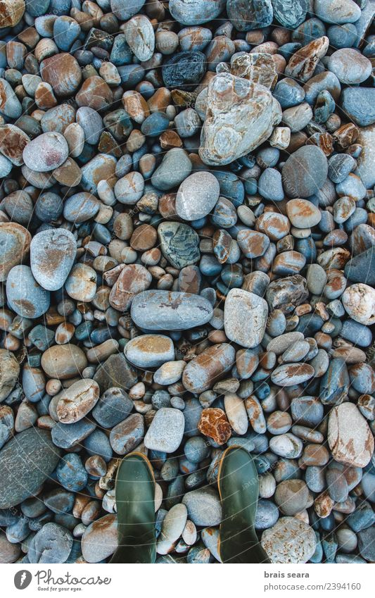 Pebbles background and boots Human being Nature Vacation & Travel Old Blue Summer Colour Beautiful Water Landscape Ocean Calm Beach Black Environment Natural