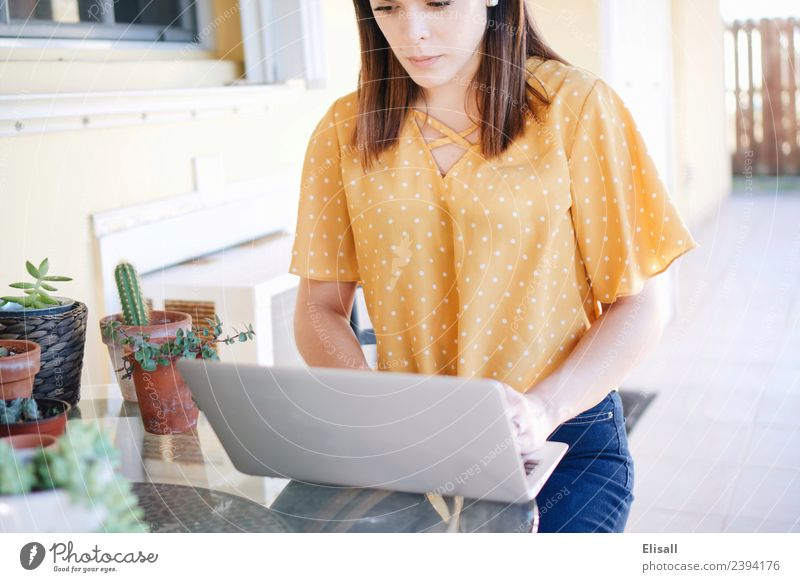 woman blogger using computer Lifestyle Shopping Leisure and hobbies Computer Technology Human being Young woman Youth (Young adults) Woman Adults 1