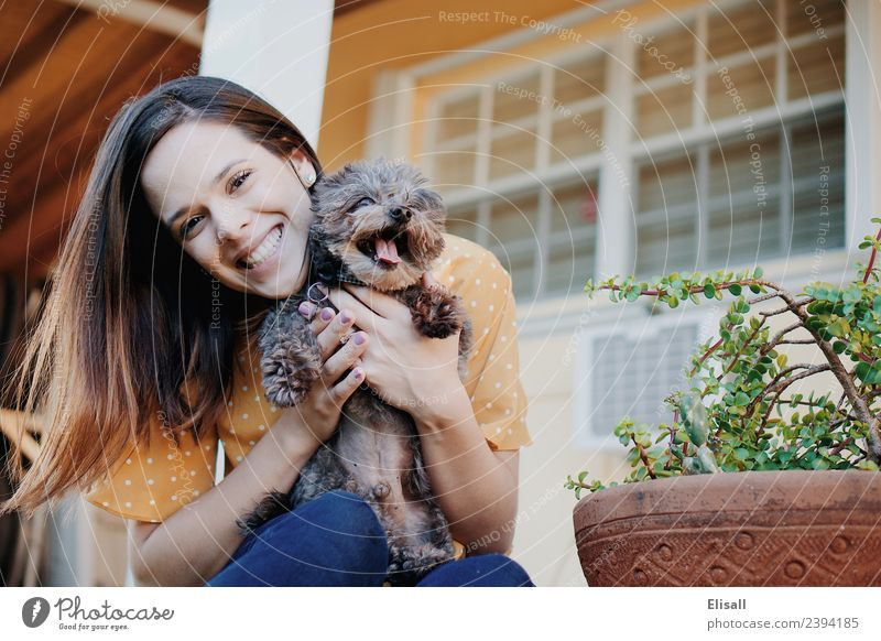 Smiling woman with pet dog Human being Young woman Youth (Young adults) Woman Adults 1 18 - 30 years Animal Pet Dog To enjoy Emotions Moody Joy Enthusiasm