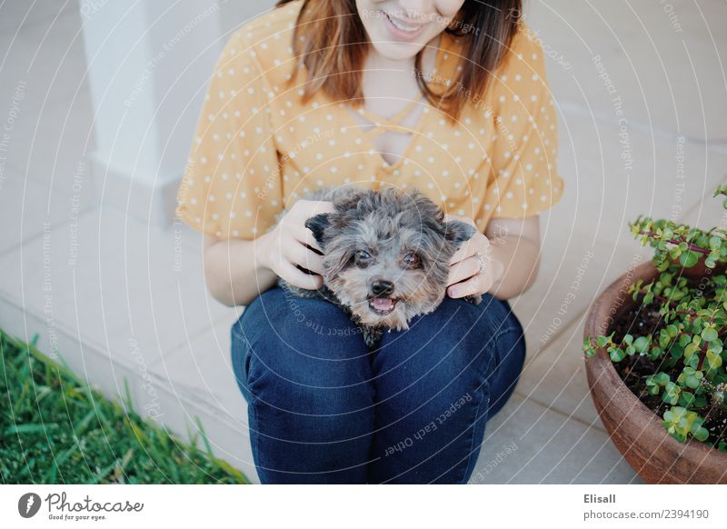 Woman with her puppy pet Lifestyle Human being Feminine Mother Adults Friendship 1 18 - 30 years Youth (Young adults) Touch To enjoy Emotions Moody Joy