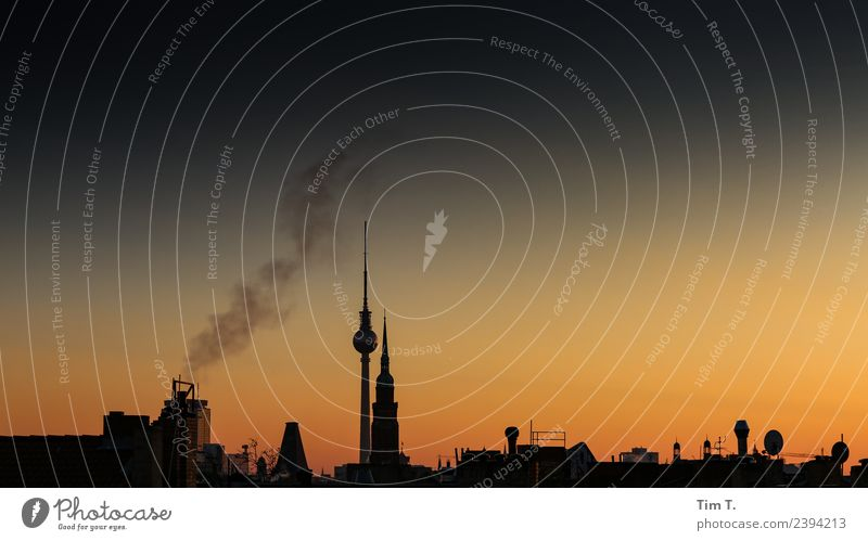 Night City Berlin Town Capital city Downtown Old town Skyline Deserted House (Residential Structure) Roof Tourist Attraction Berlin TV Tower Climate Moody