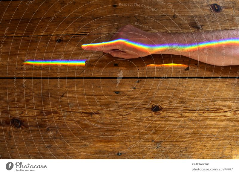 Index finger with coloured light (2) Arm Multicoloured Colour Fingers Hand Light Refraction Beam of light Man Human being Physics Prism Rainbow Prismatic colors
