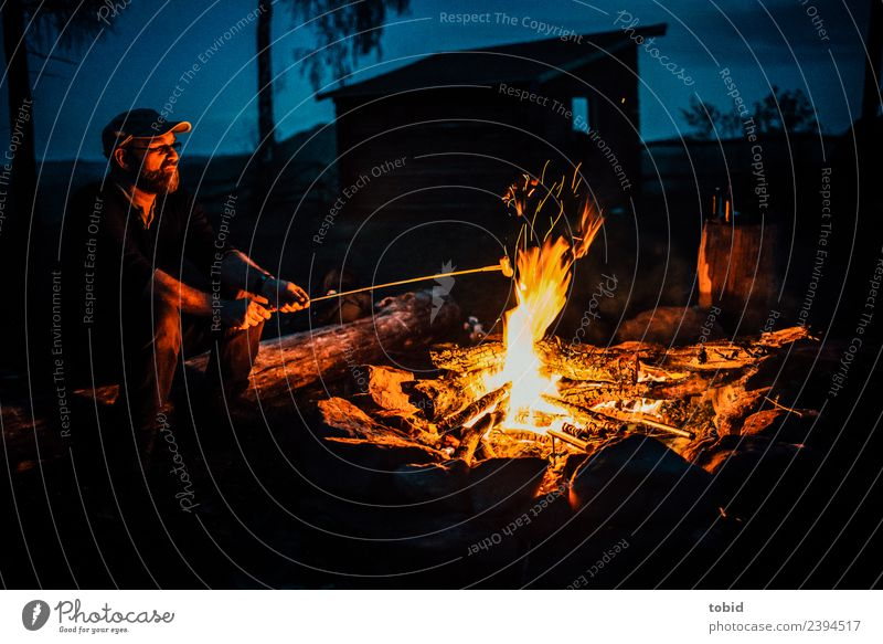 campfire Sausage Adventure Freedom Expedition Camping Summer Masculine Man Adults Face 1 Human being Nature Cap Observe Sit Loneliness Leisure and hobbies Idyll