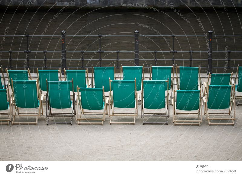 Berlin lido Vacation & Travel Summer Turquoise River Spree Green Handrail Row Beaded Behind one another Deckchair Well-being Rear view Deserted Empty Break