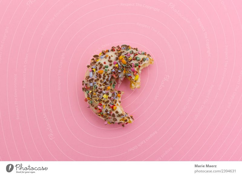 Half donut with colorful decoration Cake Candy Nutrition Eating Simple Brash Delicious Juicy Multicoloured Pink Appetite Longing Gluttony Voracious To enjoy