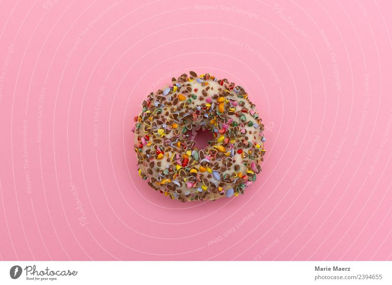 Delicious donut with chocolate crumbs Food Dough Baked goods Cake Dessert Nutrition Eating Breakfast Fresh Happy Round Juicy Sweet Multicoloured Pink Appetite
