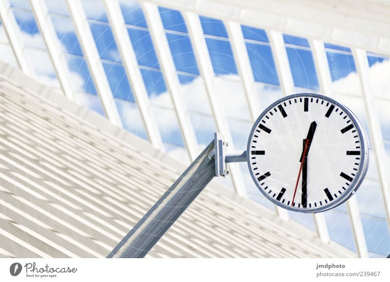 White Vacation & Travel Black Architecture Time Clock Beginning Round Testing & Control Display Suspended Clouds in the sky Clock hand Lateness Station clock