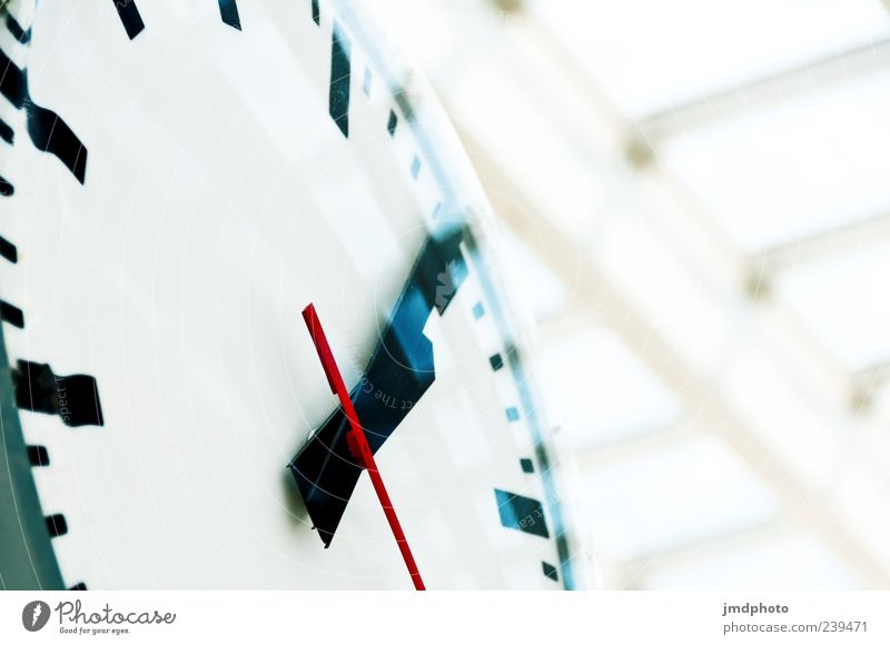 station clock Clock Time Station clock Colour photo Interior shot Close-up Detail Deserted Day Deep depth of field Worm's-eye view Clock hand 1 Motion blur