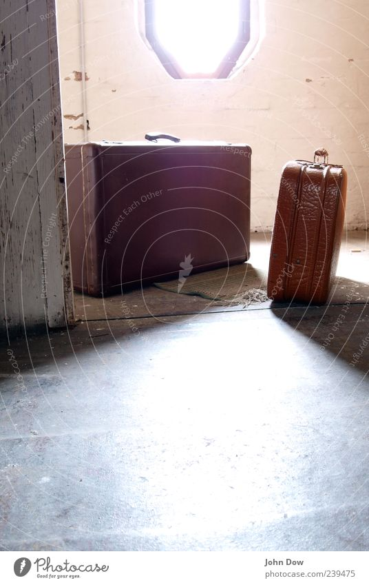 breakup Vacation & Travel Attic Window Bright Retro Wanderlust Suitcase Depart Nostalgia Traveling bag Luggage Change Leather case Travel excitement New start
