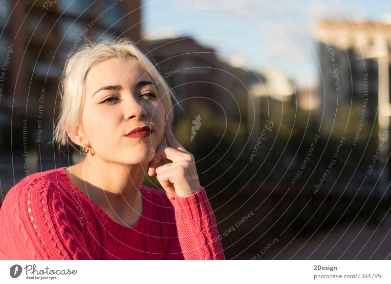Portrait of a young blonde woman Woman Human being Youth (Young adults) Young woman Colour Beautiful Red Face Street Adults Lifestyle Environment Meadow Natural