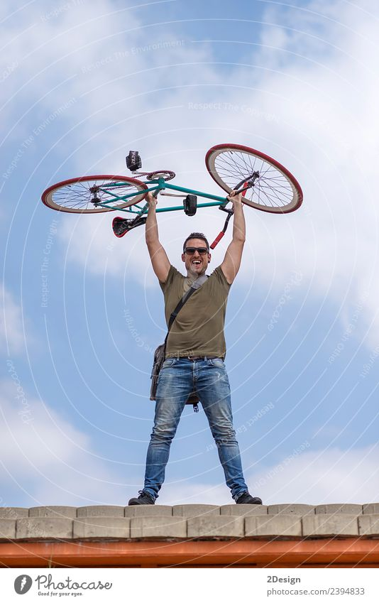 Urban man holding his bike wearing sunglasses Human being Sky Youth (Young adults) Man Young man Red Street Adults Lifestyle Style Happy Copy Space Friendship