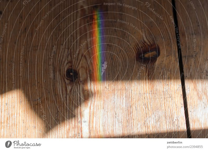 Coloured light on wood Light Refraction Beam of light Physics Prism Rainbow Prismatic colors Prismatic colour Multicoloured Wave length Copy Space Deserted Room