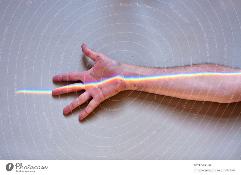 Human being Man Colour Hand Copy Space Lie Arm Fingers Indicate Physics Rainbow Beam of light Refraction Palm of the hand Spectral Prism