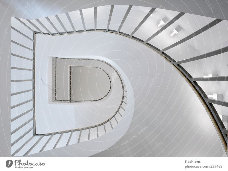 The stairs Building Architecture Stairs Exceptional Infinity White Interior shot Deserted Day Central perspective Wide angle Banister Sharp-edged Curved Upward