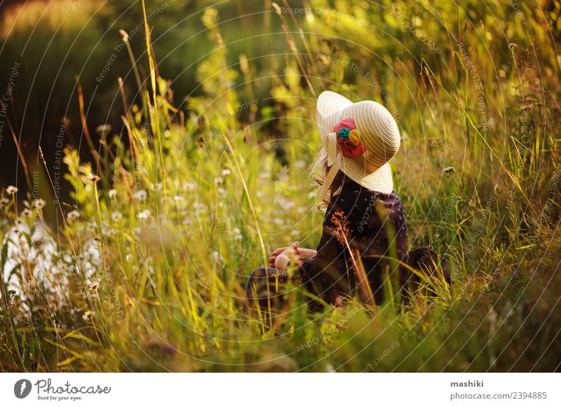 dreamy child girl on summer walk Child Nature Vacation & Travel Summer Green Forest Warmth Lifestyle Natural Playing Dream Infancy Happiness River Seasons