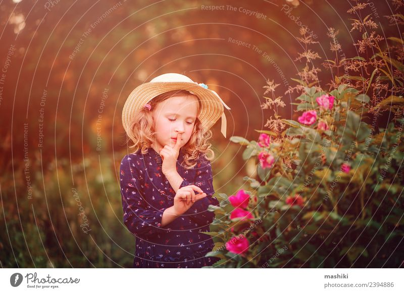 dreamy kid on summer walk Lifestyle Face Relaxation Vacation & Travel Summer Sun Garden Child Woman Adults Infancy Nature Warmth Flower Leaf Forest Dress String