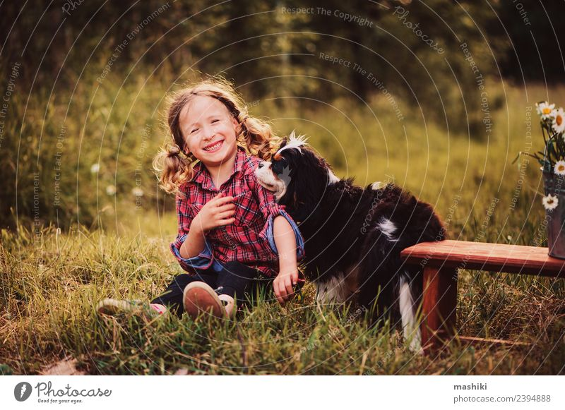 child playing with dog in summer Joy Beautiful Playing Vacation & Travel Summer Garden Child Infancy Nature Warmth Flower Grass Forest Smiling Happiness Small