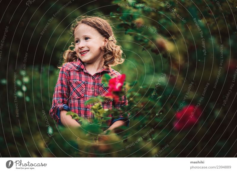 child girl walking in summer Joy Beautiful Playing Vacation & Travel Summer Garden Child Infancy Nature Warmth Flower Grass Forest Smiling Happiness Small Cute