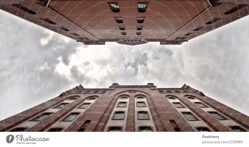 face to face House (Residential Structure) Factory Building Architecture Facade Colour photo Exterior shot Day Worm's-eye view Skyward Red Deserted Clouds