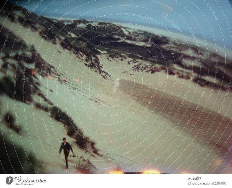 Man Beach Loneliness Adults Going Beach dune Wetsuit Human being Light leak