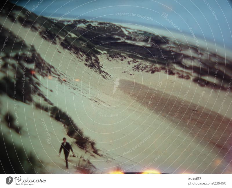 Man Beach Loneliness Adults Going Beach dune Wetsuit Human being Light leak