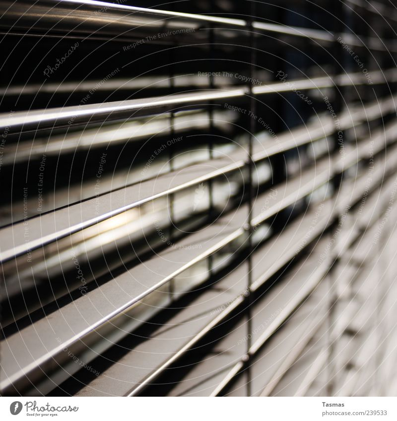 dimensions Window Sun blind Sharp-edged Modern Venetian blinds Colour photo Exterior shot Close-up Detail Abstract Pattern Structures and shapes Deserted Light