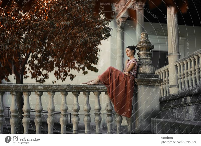 Barefoot woman sitting on railing of an old palace Human being Youth (Young adults) Old Young woman Beautiful Loneliness Calm 18 - 30 years Adults Feminine