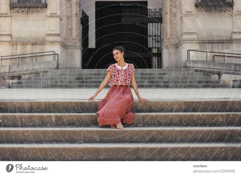 Portrait of smiling woman with spring look sitting on stairs Human being Youth (Young adults) Old Young woman Summer Town Beautiful Calm 18 - 30 years Adults