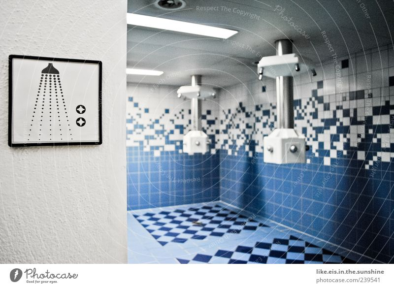 the best in training (I) Spa Deserted Wet Clean Shower (Installation) Tile Blue-white Shower room Shower head Colour photo Interior shot Light Shadow Contrast