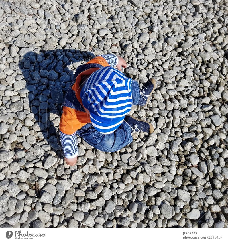 Nature Summer Beach Playing Stone Earth Happiness Beautiful weather Baby Cute Curiosity Lakeside Elements Many Cap Toddler