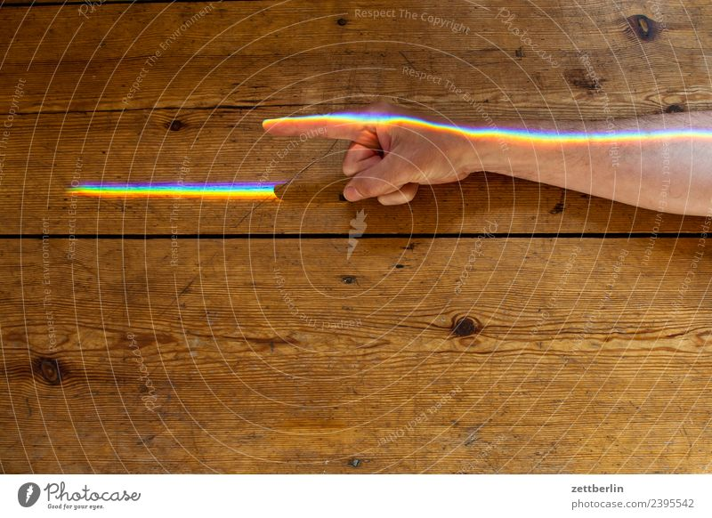 Index finger with coloured light Arm Multicoloured Colour Fingers Hand Light Refraction Beam of light Man Human being Physics Prism Rainbow Prismatic colors