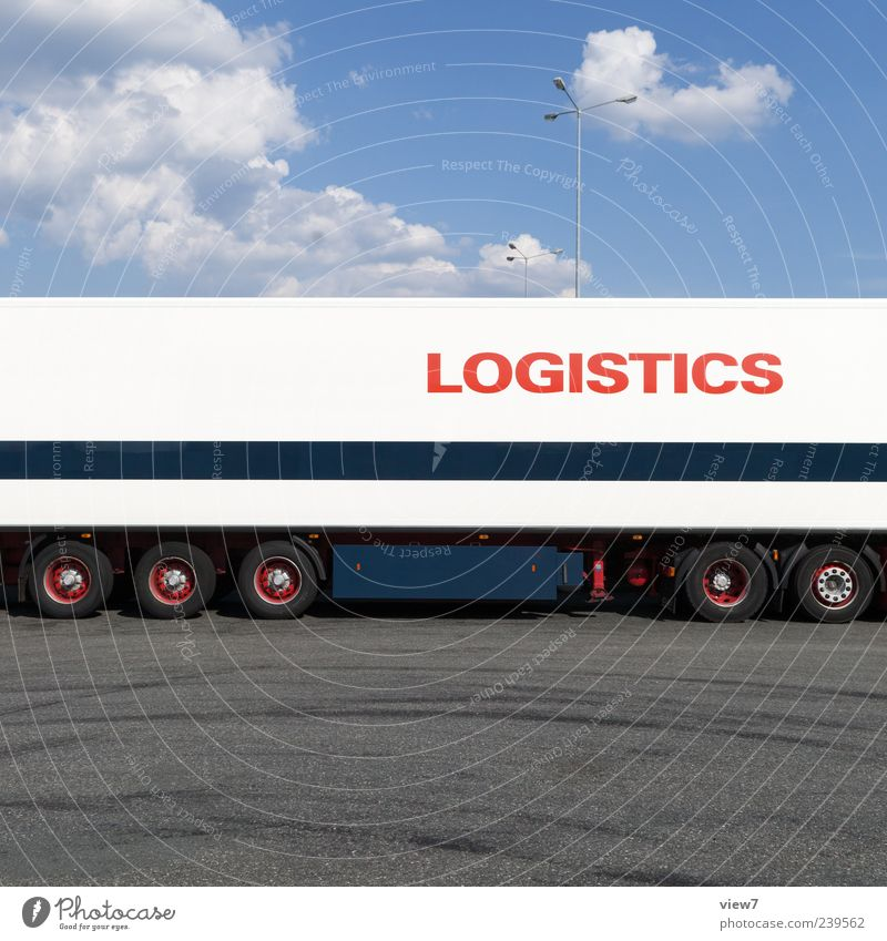 transit Logistics Sky Transport Means of transport Traffic infrastructure Street Vehicle Truck Trailer Metal Characters Line Stripe Authentic Simple Modern