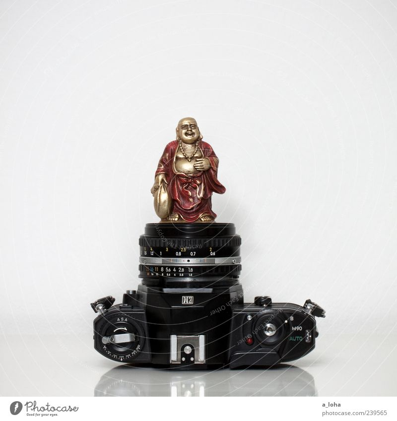 photography is my religion Kitsch Odds and ends Gold Red Black Religion and faith Buddhism Buddha Camera Reflection Souvenir Old Objective Statue of Buddha Asia