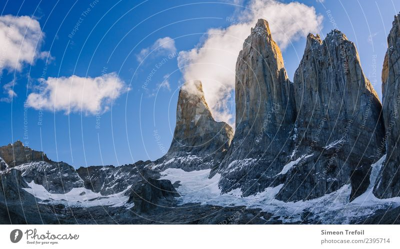 Torres del Paine at Sundown Tourism Adventure Far-off places Freedom Snow Mountain Hiking Landscape Clouds Andes Patagonia Tierra del Fuego Torrs del Paine