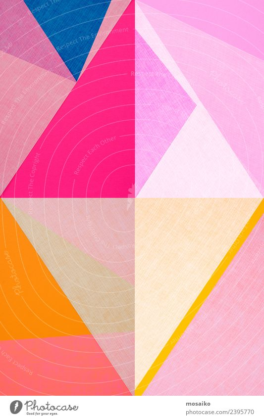 geometric shapes on paper texture Elegant Style Design Joy Art Work of art Fashion Esthetic Contentment Kitsch Pop music Colour Structures and shapes Pink