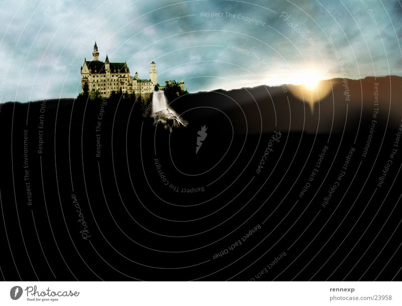 Water Sky Sun Clouds Dark Dream Rain Lighting Art Large Fantastic Castle Historic Bavaria Surrealism False