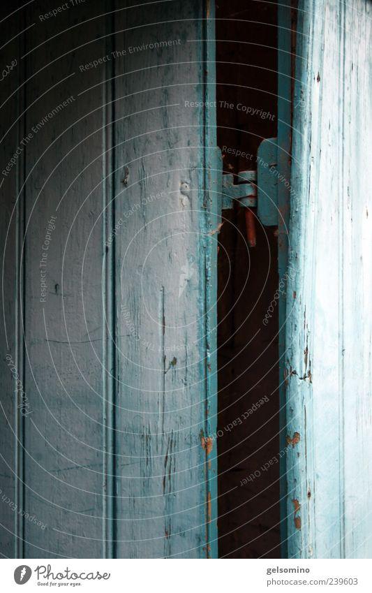 Blue Old Dark Wood Door Firm Ancient Rustic Hinge Wooden door