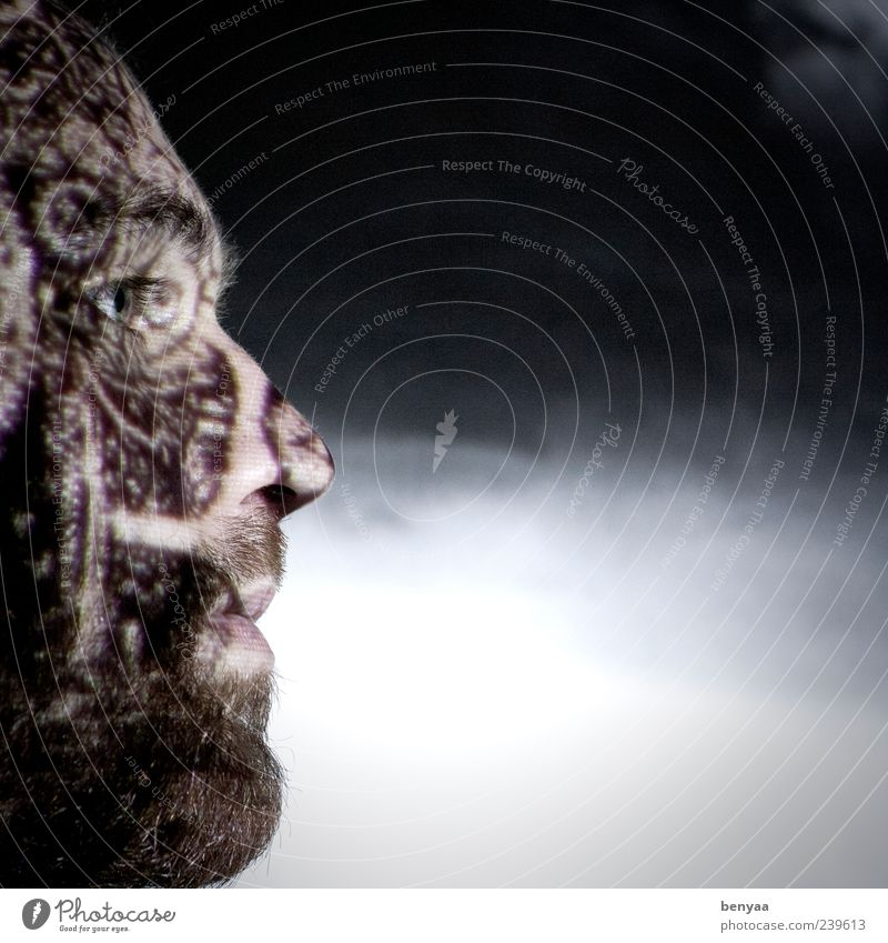 Structured thinking Masculine Man Adults Face 1 Human being Looking Emotions Moody Calm Belief Structures and shapes Dark Meditative Shadow Pattern