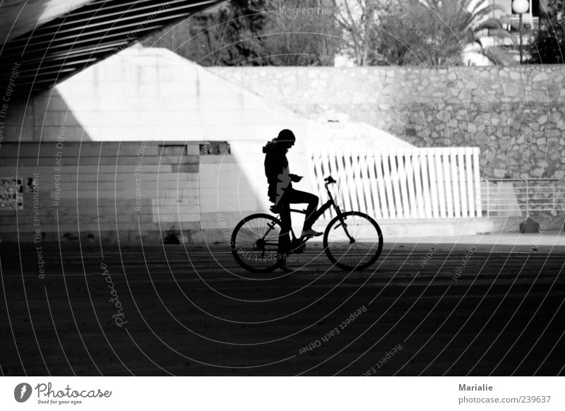 a moment in the shade Bicycle Cycling Human being 1 Valencia Park Bridge Wall (barrier) Wall (building) Stone Concrete Think Sit Wait Authentic Far-off places