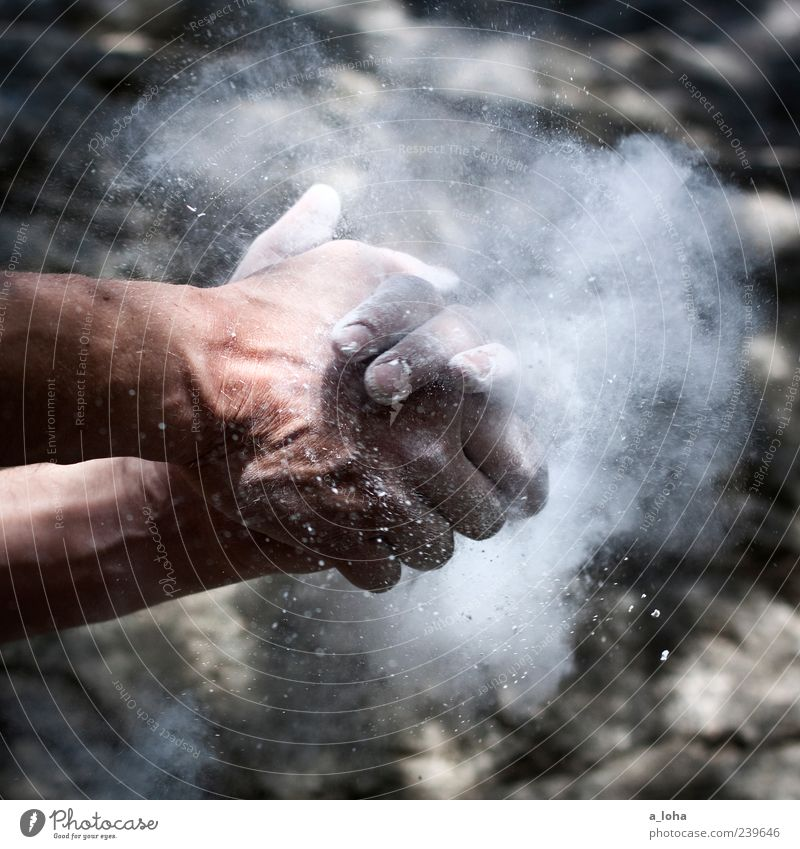 chalk Climbing Mountaineering Hand 1 Human being Rock Touch Movement Athletic Power Beginning Effort Sports magnesium Dust Powder Dusty Copy Space top