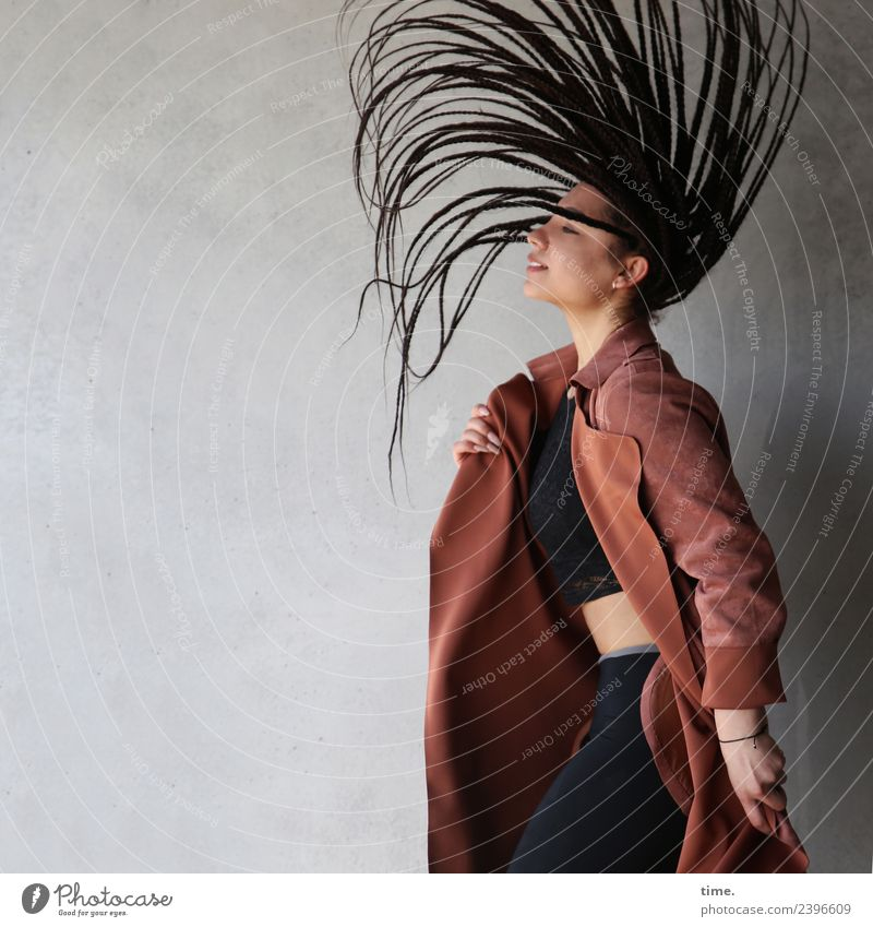 Woman Human being Beautiful Joy Adults Life Wall (building) Feminine Movement Happy Art Wall (barrier) Hair and hairstyles Esthetic Power Stand