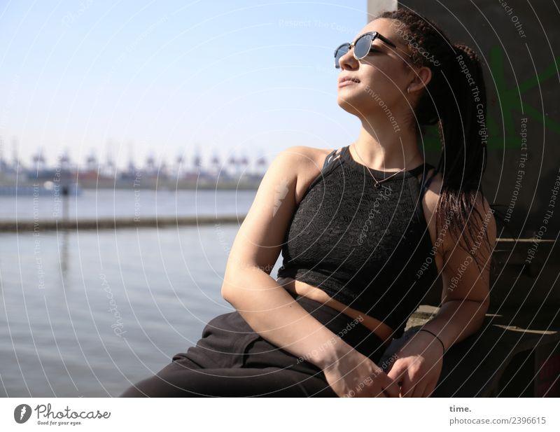 Nikoliya Feminine Woman Adults 1 Human being Hamburg Skyline Harbour T-shirt Pants Sunglasses Brunette Long-haired Braids Relaxation To enjoy Smiling Sit