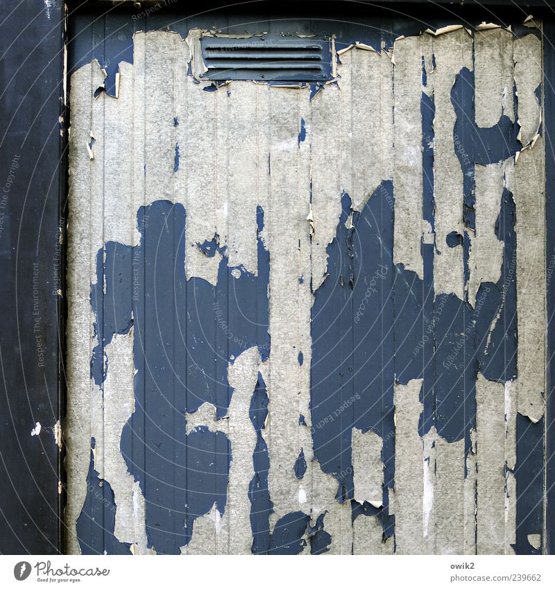 material fatigue Metal Old Sharp-edged Simple Hideous Blue Gray Black White Chaos Transience Change Destruction Slate blue Flake off Colour Ventilation flap